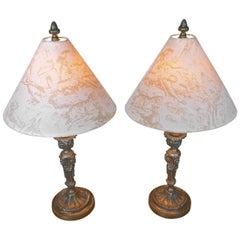 Two French 19th Century Bronze Candlesticks Converted into Table Lamps