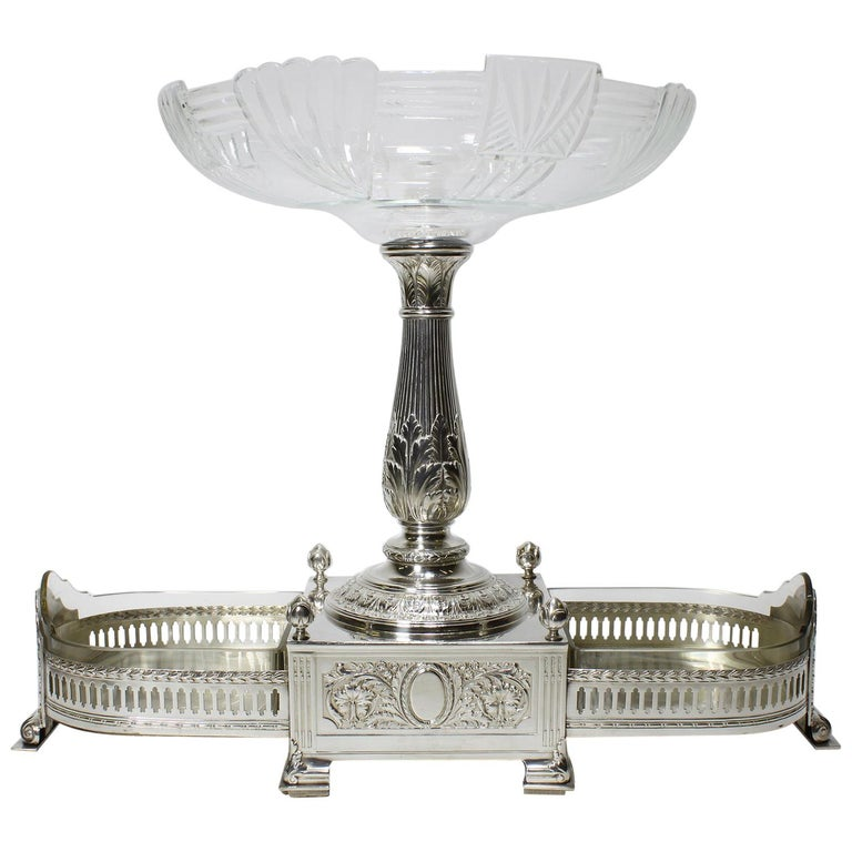 In Manner of Christofle 19th-20th Century Silver Plated & Cut-Glass Centerpiece