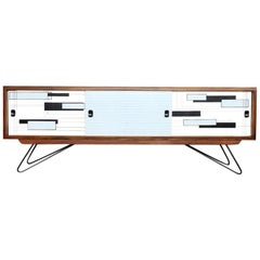 Mid-Century Modern Walnut Sideboard with Hand-Painted Pattern, 1960s