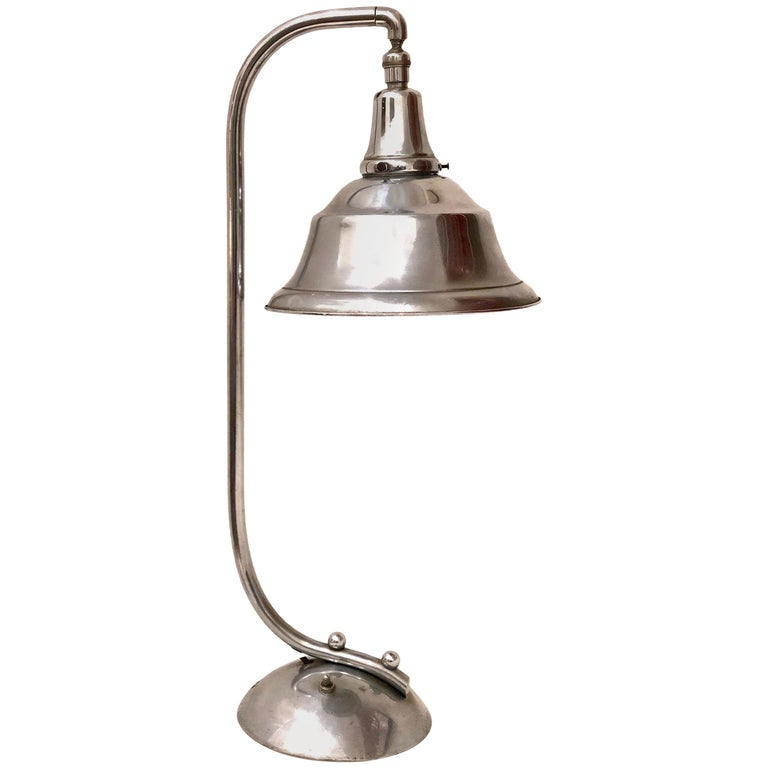 Art Deco Chrome Bell Shade Desk Lamp For Sale