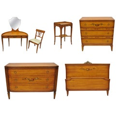 Antique Hand-Painted French Adam Style 6-Piece Satinwood Bedroom Set by Irwin
