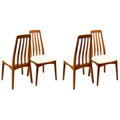 Set of Four Danish Modern Solid Teak Tall Back Dining Chairs