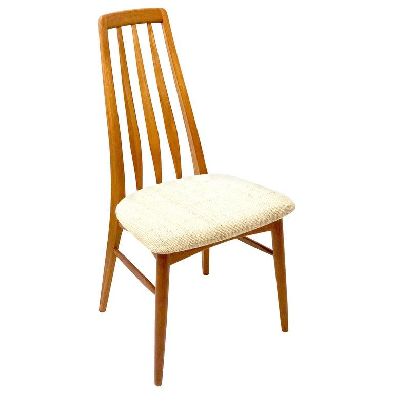 Single Solid Teak Danish Modern Niels Koefoed Desk Eva Chair For Sale