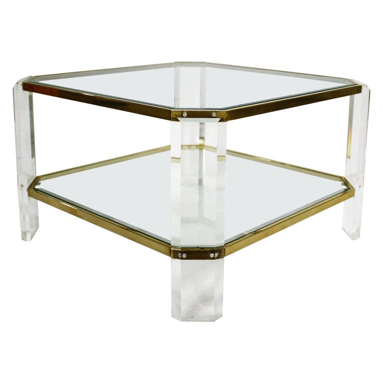 Brass and Lucite Coffee Table, 1970s by Fedam