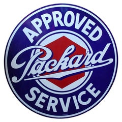 1930s Packard Approved Service Double-Sided Porcelain Sign