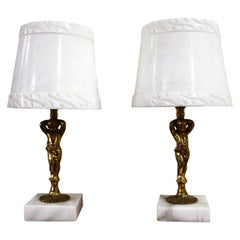 Pair of Marble and Brass Putti Table Lamps, 1970s, France