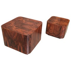 Two Rosewood Platform End Tables