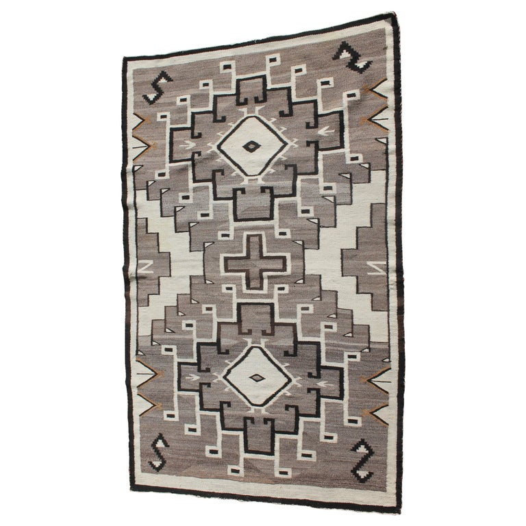 Two Grey Hills Navajo Indian Weaving For Sale
