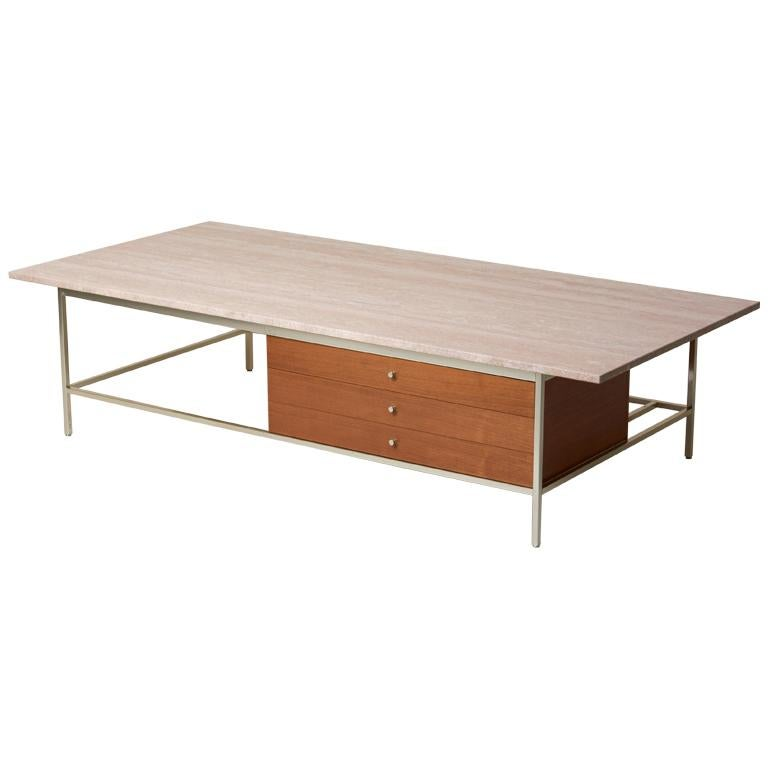 Paul McCobb travertine-top coffee table, 1960s, offered by Original in Berlin