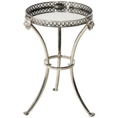 Petite Neoclassical Polished Nickel Gueridon Side Table