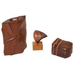 Set of Three Charles Kaplan Studio Pieces a Jewelry Box, a Sculpture and a Vase