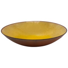 Yellow Enamel on Copper Bowl Signed by Leon Statham, circa 1960