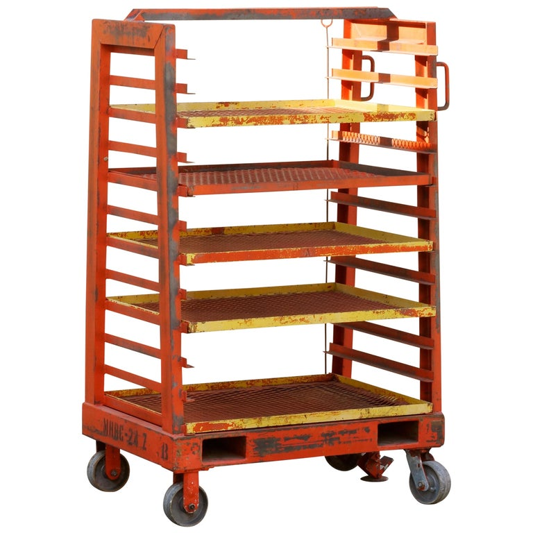 1940s Vintage Industrial Rack with Expanding Shelves