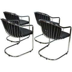 Set of Four Gastone Rinaldi Italian Modern Chrome and Leather Dining Chairs