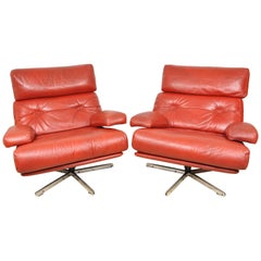 Pair of Mid-Century Modern Retro Chairs Red Leather and Chrome