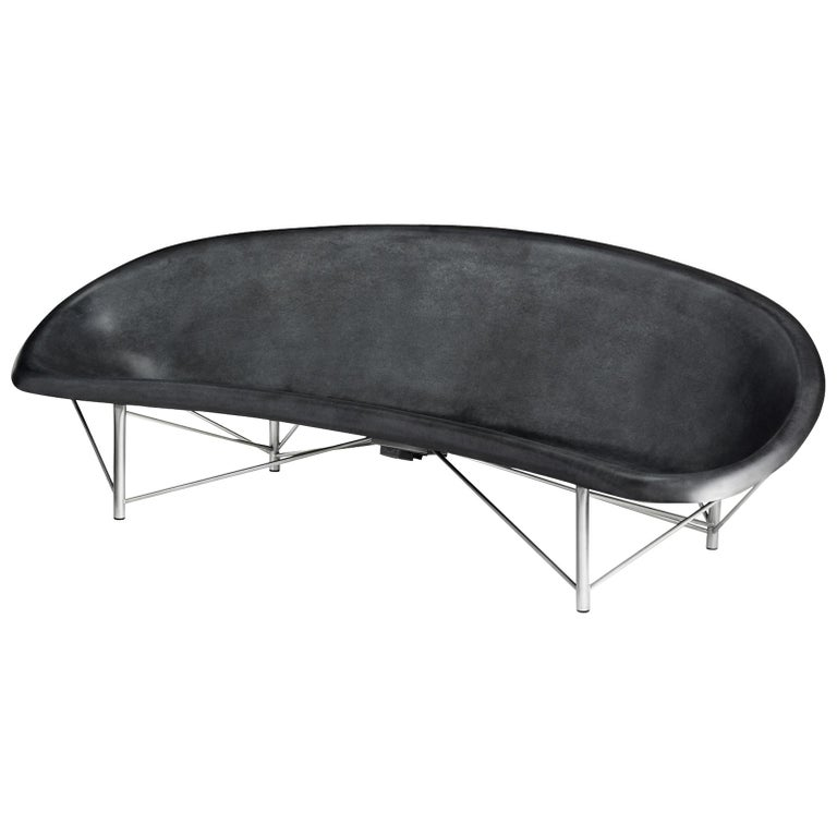 Galanter & Jones Heated Cast Stone Helios Lounge with Custom Frame, Charcoal