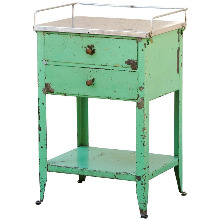 1920s Industrial Side Table with Distressed Patina