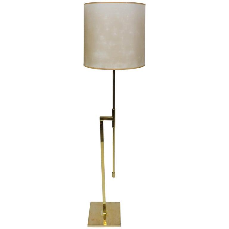 Mid-Century Modern Adjustable Minimalist Brass Floor Lamp by Laurel