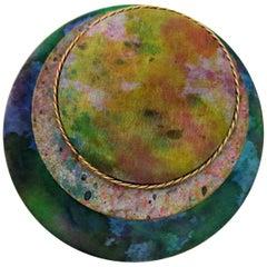 Vintage Round Brooch Silk Enamel Gold-Tone Chain Signed Sascha 87, New York