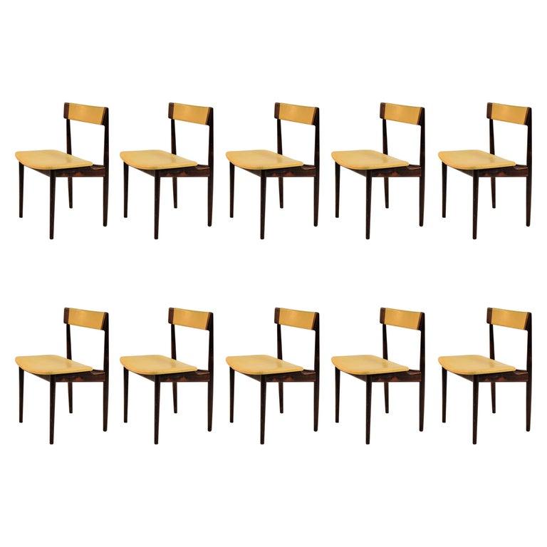 1960s Set of Ten Henry Rosengren Hansen Model 39 Dining Chairs in Rosewood For Sale