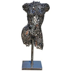 Modernist Iron Torso Sculpture Made Up of Mechanical Parts