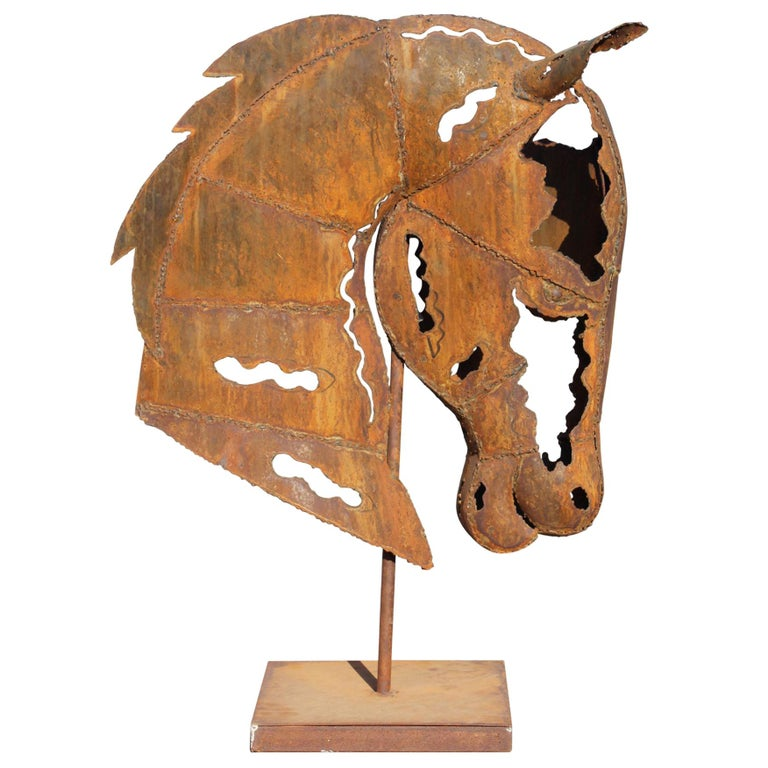 Hand Crafted Modernist Iron Horse Head Sculpture