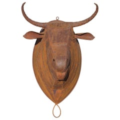 Handcrafted Spanish Bull Iron Head Sculpture