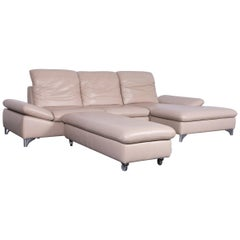 Willi Schillig Enjoy Designer Leather Sofa Footstool Set Beige Modern