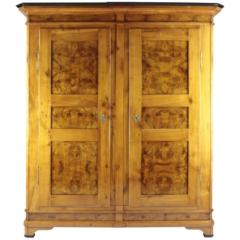 Biedermeier Period Cupboard Cabinet, Nutwood and Cherrywood, circa 1830
