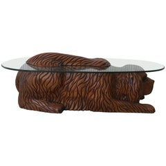 20th Century Country Carved Table Featured a Lifesize Dog with Cristal Tops
