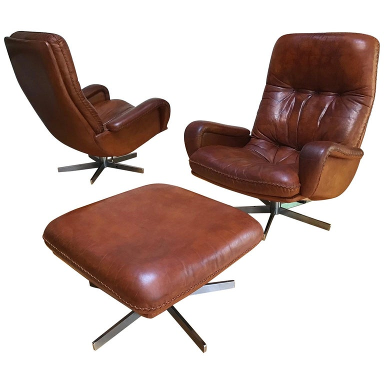 S 231 James Bond Swivel Pair of Armchair and Ottoman from De Sede, 1960s