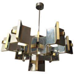 21 Sockets Sculptural Brass and Mirrored Metal Chandelier from Sciolari, 1970s