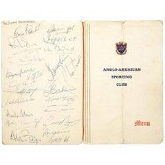 1966 England World Cup Squad Autographed Menu