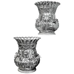 Luigi Diani 20th Century Rococo Pair of Engraved Silver Flower Vases Italy 1930s