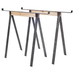 Contemporary Trestles with Oak Centre and Steel Legs
