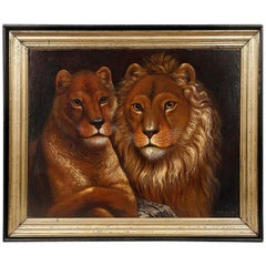 Large 19th Century Oil Painting of a Lion and Lioness by P. de Clercq