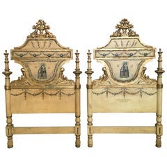 Early 19th Century Pair of Venetian Polychromed Headboards Featured Madonna