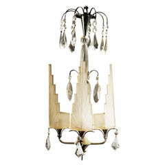 French Art Deco Cat Crystals Chandelier