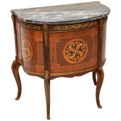 Antique French Inlaid Marble Top Cabinet