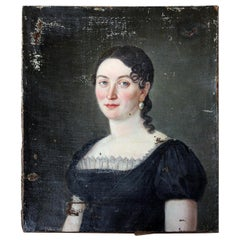 Early 19th Century French or Spanish School Oil on Canvas Portrait of a Lady