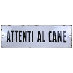 "1950s Vintage Italian Enamel Metal Sign ""Attenti Al Cane"" 'Beware of the Dog'"