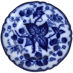 1880s English Victorian Flow Blue Transferware Dinner Plate with Berry Pattern