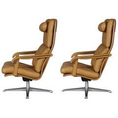 Swedish Leather Swivel Lounge Chairs, 1960s