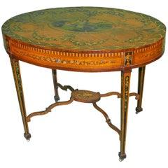 18th Century Sheraton George III Satinwood Oval Painted English Writing Table