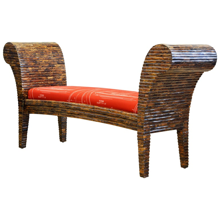 Postmodern Design Tessellated Coconut Palm Wood Bench by Enrique Garcel For Sale