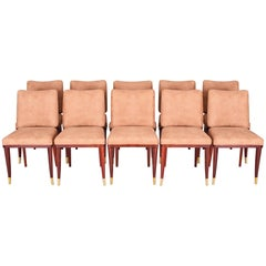 Restored French Art Deco Chairs, Ten Pieces, Designed by Jules Leleu, 1920-1929