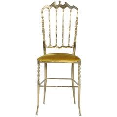 Chiavari Brass Ballroom Chair by Giuseppe Gaetano Descalzi, 1960s