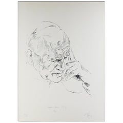 Ernst Guenther Hansing, Study of Pope John Paul II, Lithograph, 1981