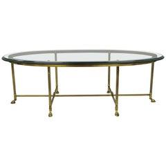 Labarge Brass & Glass Oval Italian Coffee Table Hoof Feet Hollywood Regency