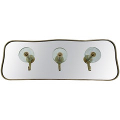Italian 1950s Brass Framed Mirrored Coat Rack